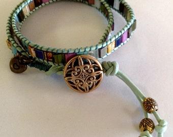 Leather Cord Double Wrap Bracelet