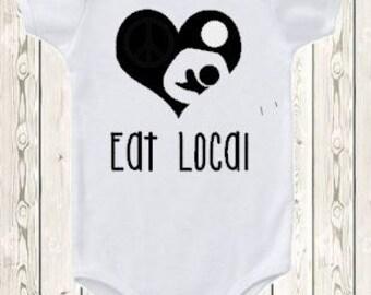 Eat Local Breastfeeding ONESIE ® brand bodysuit or shirt Breastfeeding logo heart nursing shirt new baby gift baby shower natural