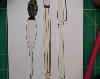 Pencil, Ink, Paint