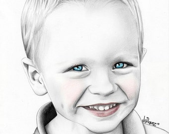 """Custom made pencil portrait. 8x10"""" Children's portrait. Art with a cause. Personalized drawing. Kid's drawing. Custom gift. Fine art."""