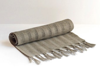 100% Linen Table Runner Natural Organic Eco Flax Natural Gray Color Rustic Nature Folk Ethnic Primitive Style