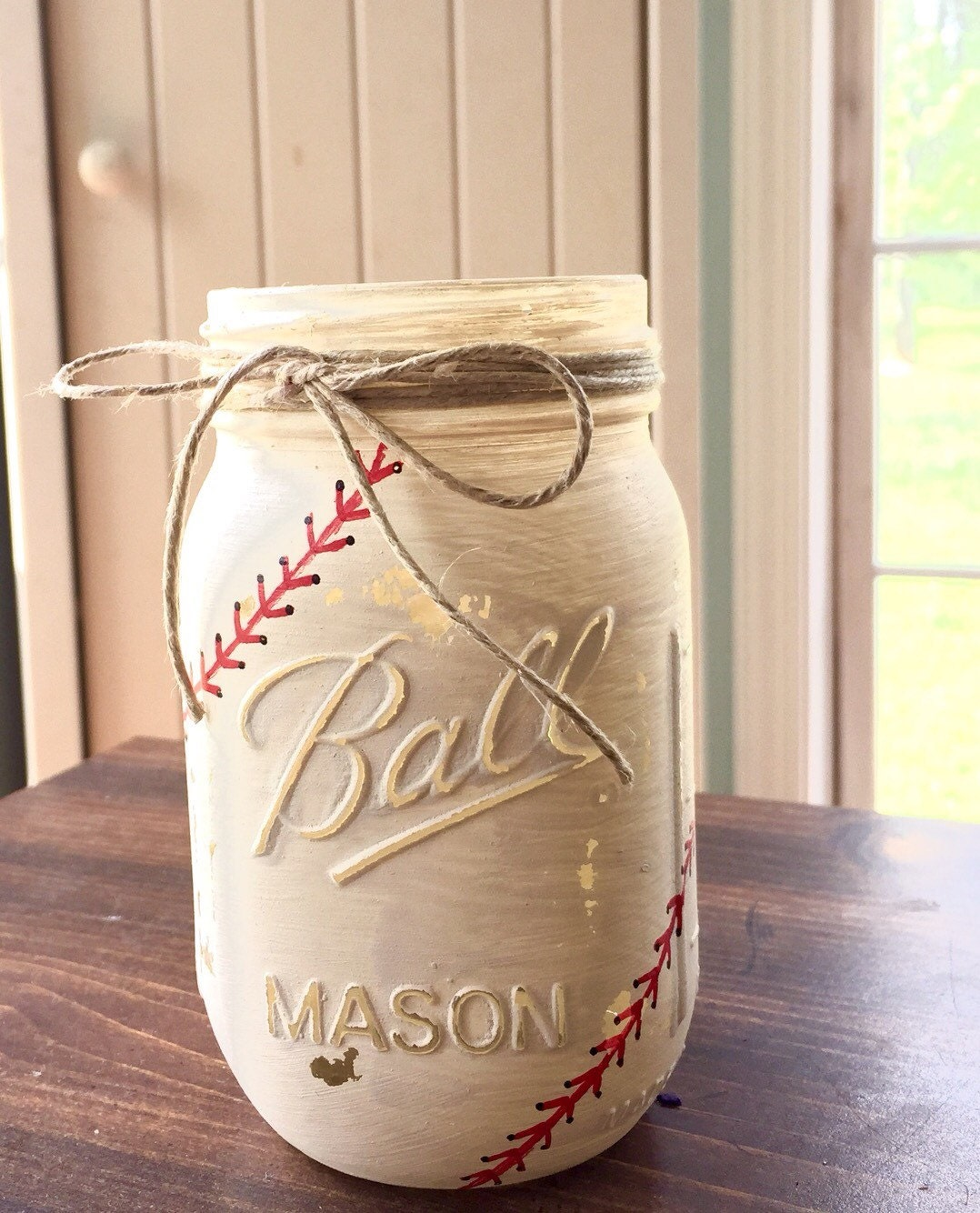 Painted mason jars baseball mason jar party by for A bathroom i can play baseball in