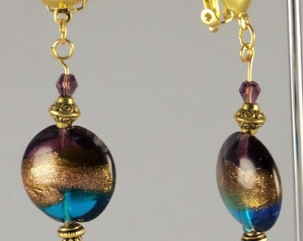 Spectacular Murano purple, blue and gold with silver leaf and gold details for these sophisticated earrings