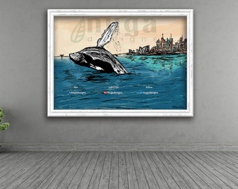 Whale in city print