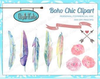 Boho Chic Feathers Digital Clip Art Graphics for Personal or Commercial Use