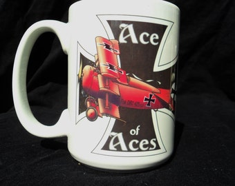 Fighter pilot gift mug Red Baron Ace of Aces Albatros Dr1 white 12-oz World War 1 for military history buff