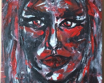 Red woman, acrylic painting on canvas, original, 8x10