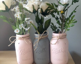 Shabby Chic Quart Size Blush Pale Pink and Gray Distressed Chalk Paint Rustic Mason Jars - Also available in custom colors