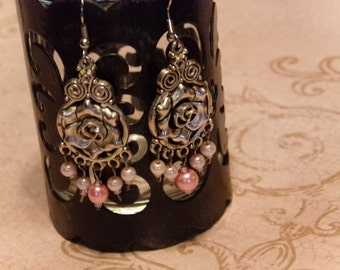 Handcrafted romantic silver roses and pearls dangling earrings