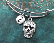 Sugar Skull Bangle Silver Sugar Skull Bracelet Calavera Bracelet Stackable Bangles Adjustable Bangle Expandable Bangle Personalized Bangle