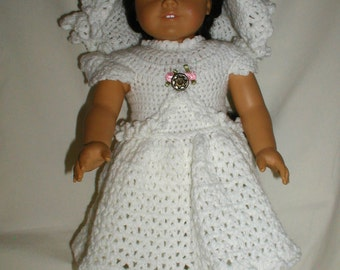 """Hand Crochet White Dress, Hat, Pantaloons and Sandals  for 18"""" Dolls"""