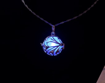 "Glowing Floral Sweep Pendant in 925 Sterling Silver SP With 18"" or 22"" Sterling Silver Chain, Glow Pendant, Glow in the Dark, Glow Jewelry"