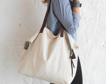 Large tote beige linen and leather