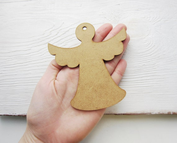 Items similar to set of 5 shapes angel mdf shape diy for Craft supplies wooden shapes