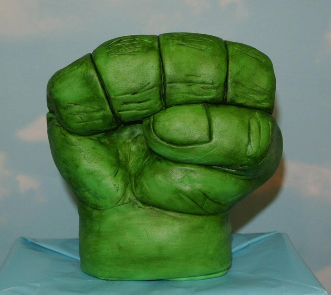 Fondant edible Incredible Hulk fist hand cake topper