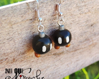 Bob - omb (fimo) mario geek earrings