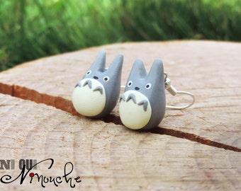 Grey totoro (fimo) manga Miyazaki Ghibli geek earrings