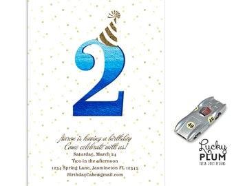 Confetti Birthday Invitation / Gold Polka Dots Invite / Blue Gold Glitter Invite / Modern Invite / First Birthday Invite /  *Digital file*