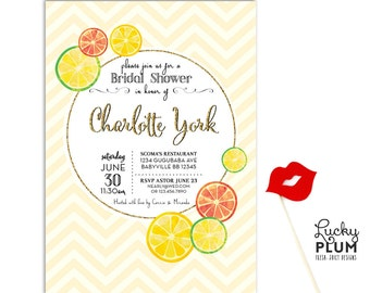 Lemon Bridal Shower Invitation / Chevron Invite / Yellow Gold Invite / Fruit Invite / You are my Sunshine / Lemonade Invite / *Digital file*