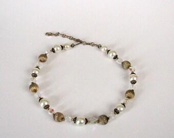vintage Lisner choker necklace . AB glass beaded necklace . aurora borealis strand choker necklace . designer vintage jewelry