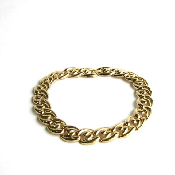 chunky chain link choker necklace vintage chain link