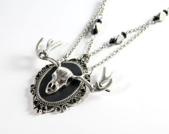 Woodland Deer skull black & silver gothic frame necklace pendant