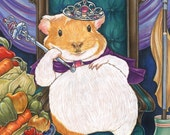 Guinea Pig Princess Art Print-Sizes-2.5x3.5, 5x7 or 8x10 In., Cavy Lover Signed Anthro Fantasy Vegetables Fruits Queen Pet Animal Royalty
