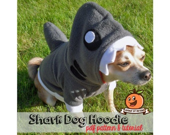 Dog Shark Hoodie Costume MED-XL Pdf Pattern and full tutorial