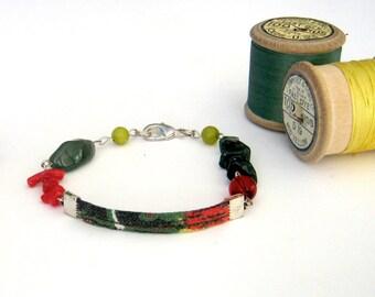 Bracelet - Vintage Fabric Textile Jewelry