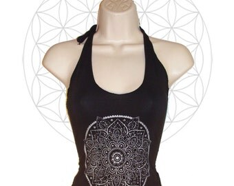 Mandala Halter - Crop top made from organic cotton and bamboo jersey with silver print