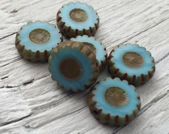 Czech glass beads - flower daisy coin beads sky blue picasso 13mm pack of 6 (C05)