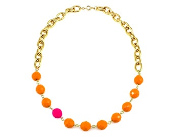 Orange Statement Necklace, Pink Statement Necklace, Pink Neon Statement Necklace, Neon Necklace, Gold Statement Necklace, Bib Necklace