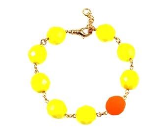 Neon Orange Statement Bracelet, Yellow Statement Bracelet, Neon Statement Bracelet, Neon Bracelet, Yellow Bracelet, Neon Orange Bracelet