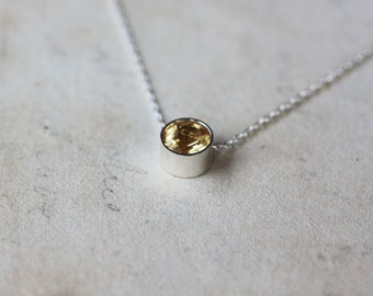 Citrine Necklace, Birthstone Slide Necklace, Sterling Silver Necklace, November Birthstone, Faceted Gemstone Necklace, Layering Jewelry