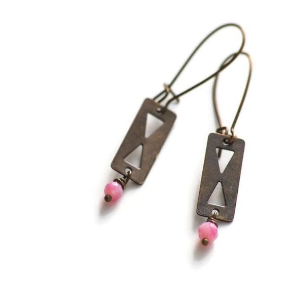 triangle die cut earring hourglass dangle antiqued by randitan. Black Bedroom Furniture Sets. Home Design Ideas