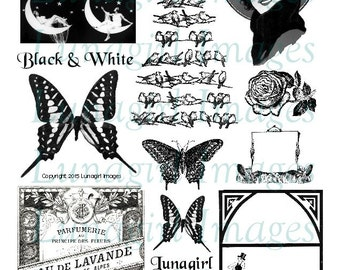 BLACK & WHITE digital collage sheet vintage images flappers butterflies birds roses moon perfume Victorian printable ephemera cards tags