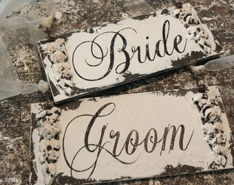 Bride and Groom Signs. Wedding Chair Signs. Wedding Sign. Beach Wedding. Rustic Wedding. Wedding Decor.