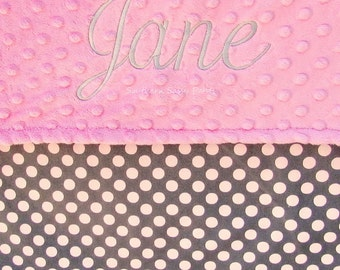 Gray and Pink Polka Dot Baby Blanket -Personalized Baby Girl Blanket , Grey and Pink Dots with Minky