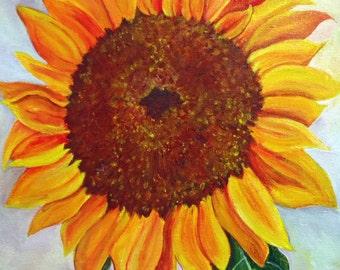 Sunflower painting, sunflower acrylic painting canvas art  10 x 10 Original, flower painting, sunflower decor,  sunflower wall art