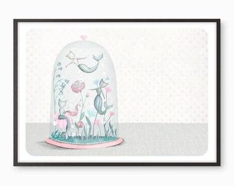 Mermaid Cats Bell Jar Art Print - Illustration drawing mercat merkitten  A4 / A3 / A5 / 8 x 10 giclee print