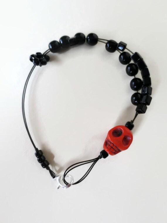 Knitting Row Counter Bracelet : Skull knitting row counter bracelet abacus