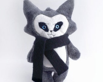Trouble Cat Plush Toy - Grey with Fang and Wool Scarf