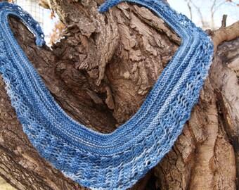 Soft, Blue, Hand Knit Scarf