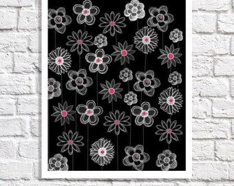Black And White Nursery Modern Kid Whimsy Art Hot Pink And Black Decor Baby Girl Wall Art Floral Artwork Flower Picture Tween Teen Room Idea