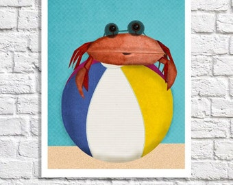 Beach Nursery Art Sea Animal Print Bright Colors Ocean Baby Boy Room Beach Ball Decor Crab Art Children's Bathroom Seaside Theme Bedroom