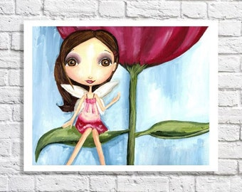 Fairy Picture For Girls Bedroom Tween Wall Art Flower Girl Gift Garden Nursery Teen Room Decor Cute Artwork For Baby Brunette Painting Print