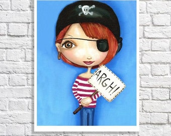 Kids Pirate Decor Cute Art Print Redhead Art Pictures For Girls Room Pirate Nursery Wall Art Big Eye Art Pirate Girl Party Idea Pirate Quote