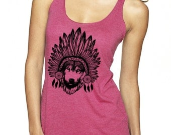 Womens Wolf Shirt Tribal Animal Print Clothing Exercise Tops with Wolves Cute Athletic shirts for the gym Dream Catcher