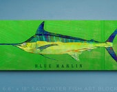 Blue Marlin Art Block- Husband Gift- Saltwater Fish Art- Beach House Art- Unique Gift Ideas- Fish Gifts for Him- Gifts- for Dad Gifts