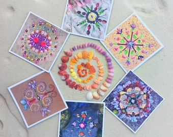 Ocean Offering set of 6 Mandala art cards